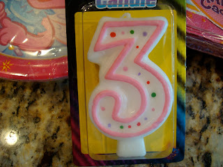 Large number 3 birthday candle