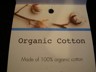Tag showing Organic Cotton