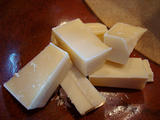 Chopped white chocolate in bowl