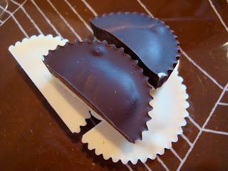 Both Peanut Butter Cups Sliced and Stacked on top of one another
