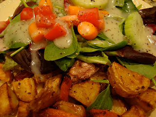 Salad with Vegan Slaw Dressing and Roasted Vegetables