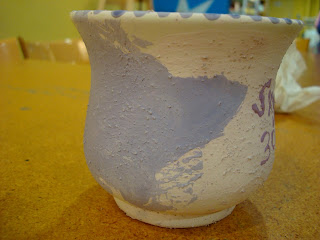 Pained mug side view