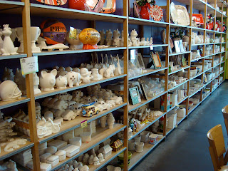 Various ceramics at pottery shop
