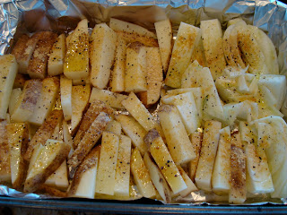 Potatoes and Fennel on foil lined pan