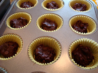 Close up of brownie bites in muffin pan