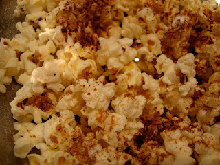Close up of Popcorn in bowl with Cinnamon and Stevia