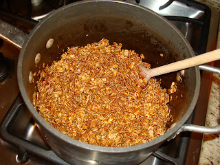 Oats added to melted butter mixture