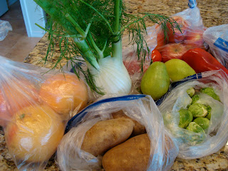 Close up of fresh produce on countertop