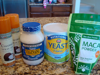 Coconut Oil Spray, Vegenaise, Nutritional Yeast and Maca Powder