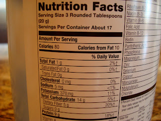 Nutritional Facts on back of container of nutritional yeast