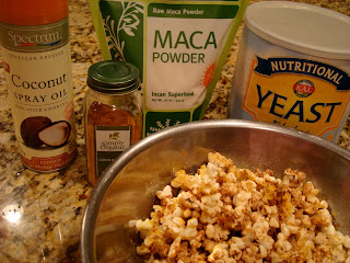Nutritional Yeast Popcorn in bowl with ingredients to make it