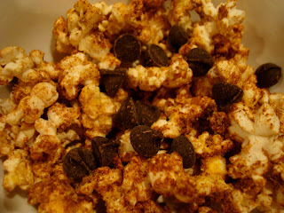Popcorn with Nutritional yeast, Maca, Stevia, Cinnamon, & Chocolate Chips