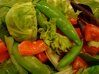 Brussels, Sugar Snap Peas, Tomatoes, Carrots, Mixed Greens