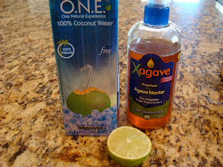 Coconut Water, Agave and lime on countertop