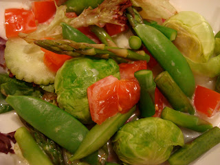Mixed Field Greens, Brussels, Sugar Snap Peas, Asparagus, Cukes, & Tomatoes