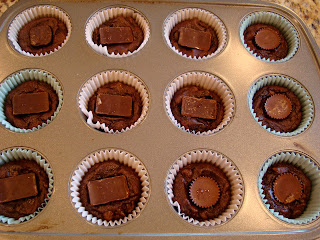 Peanut Butter Cup Brownie Cupcakes in muffin tin