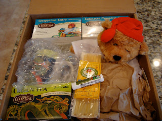 Box full of Celestial Tea giveaway products