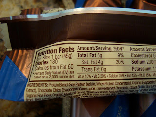 Nutritional Facts on back of protein bar