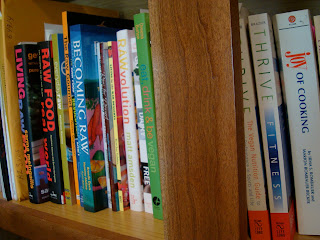 Shelves of Raw Foods Cookbooks and Books