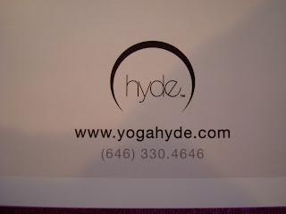 Hyde Yoga business card