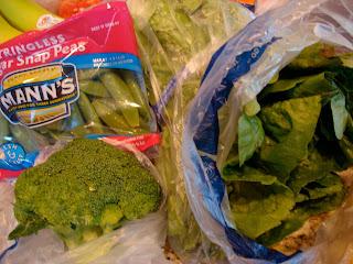 Sugar Snap Peas, Broccoli, Romaine