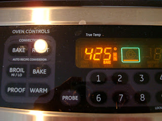 Stove set to 425 degrees F