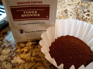 Fudge Brownie Coffee with grounds in filter