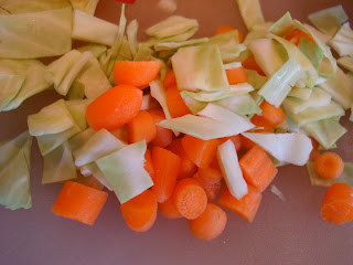Chopped up cabbage and carrots