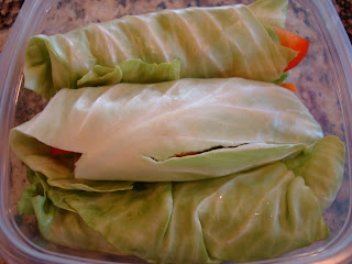 Overhead of Cabbage Wraps in clear container