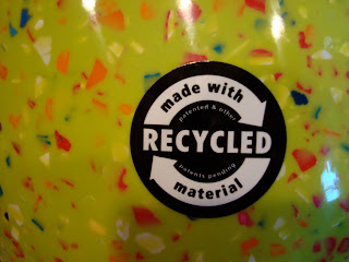 Sticker on bowl saying made with recycled material