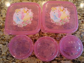 Pink princess sandwich containers and bowls