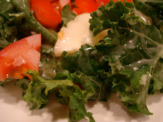 Kale salad up close on plate