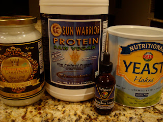 Ingredients for Chocolate Coconut Oil Protein Popcorn