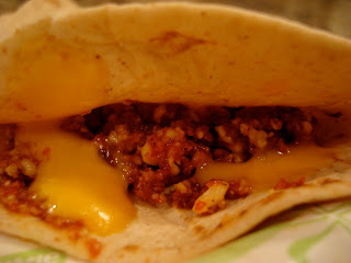 Side view of taco