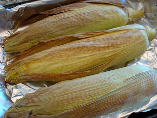 Corn husks removed from oven lightly golden