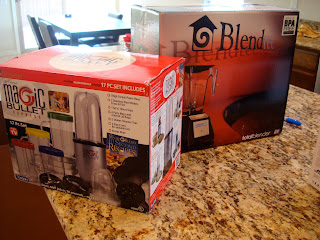 Magic Bullet and the Blend-Tec on countertop