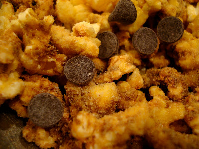 Nutritional Popcorn with chocolate chips up close