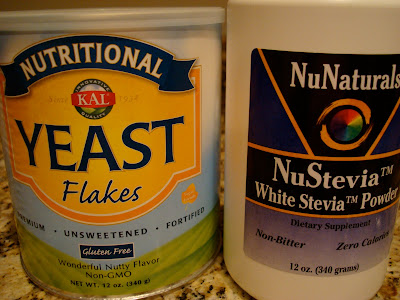 Containers of Nutritional Yeast and Stevia Powder