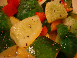 Steamed squash, peppers, zucchini and brussel sprouts