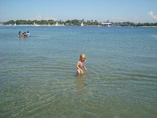 Little girl playing in the water