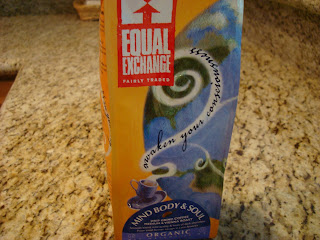 Equal Exchange Organic Coffee in package on countertop