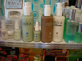 Shelf of natural beauty products from vegan store