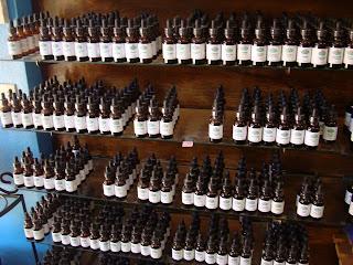 Shelves of medicinal Chinese bottled herbs
