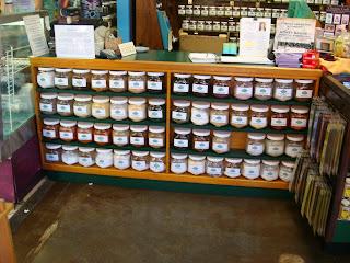 Shelves of various Chinese herbs in jars