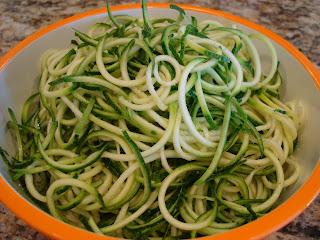 Three spiralized zucchini in bowl