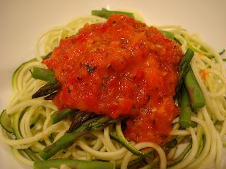 """Raw Vegan """"Pasta"""" Noodles & Raw Marinara in white bowl"""