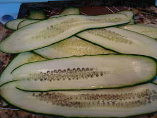 Pile of thinly sliced cucumbers