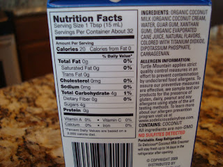 Nutritional facts on So Delicious French Vanilla Coconut Milk Creamer container