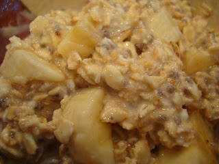 Close up of Overnight Peanut Butter-Banana-Vanilla-Chia Oats in bowl