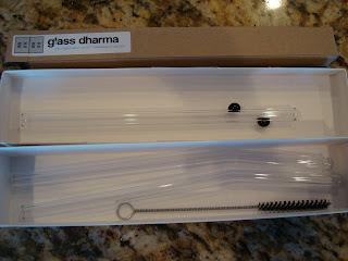 Glass straws in box